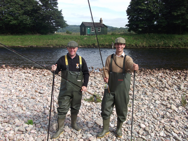Wes and Dickie enjoying a day's fishing on the River Dee, Aberdeenshire