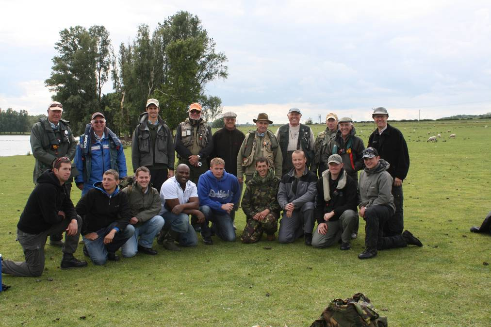 Members of Invicta FFC and Fishing for Forces guests after a day at Elinor trout fishery.