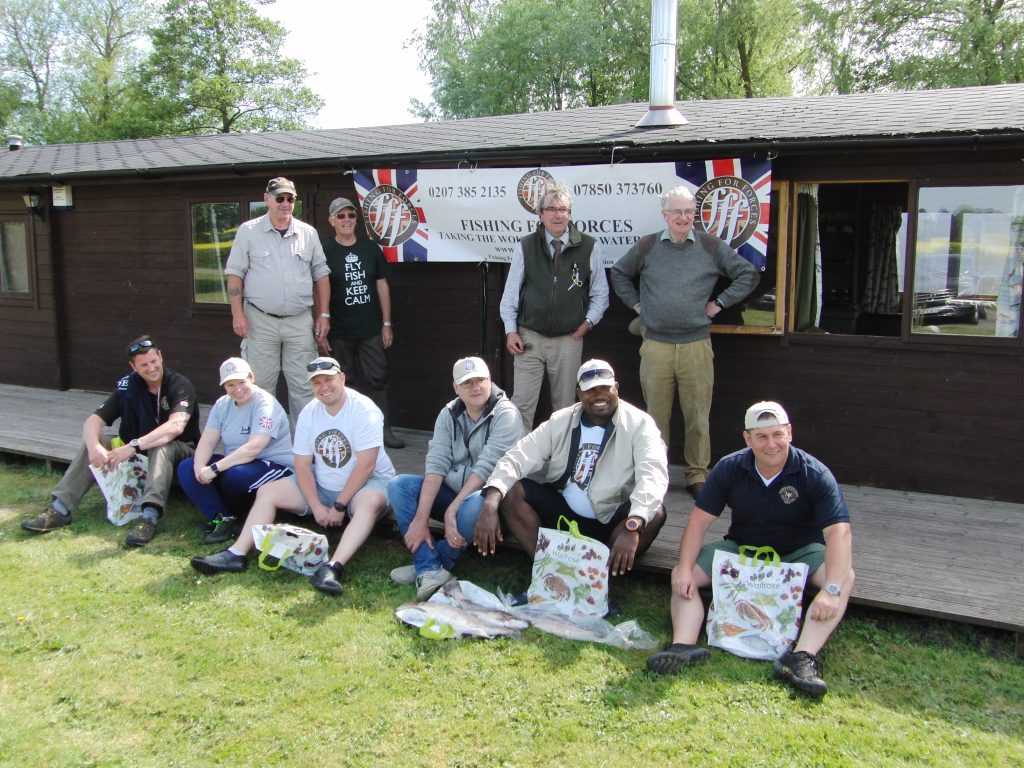 The team enjoying the day at Manningford Fishery